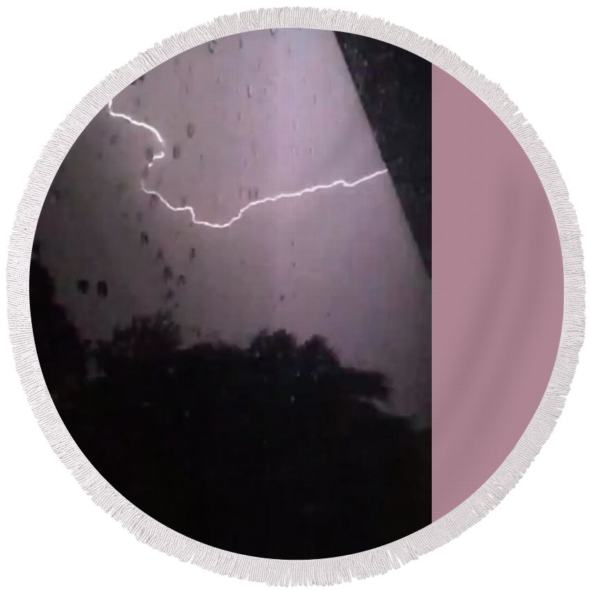 Round Beach Towel featuring the photograph Wicked Lightning by Freddy Alsante