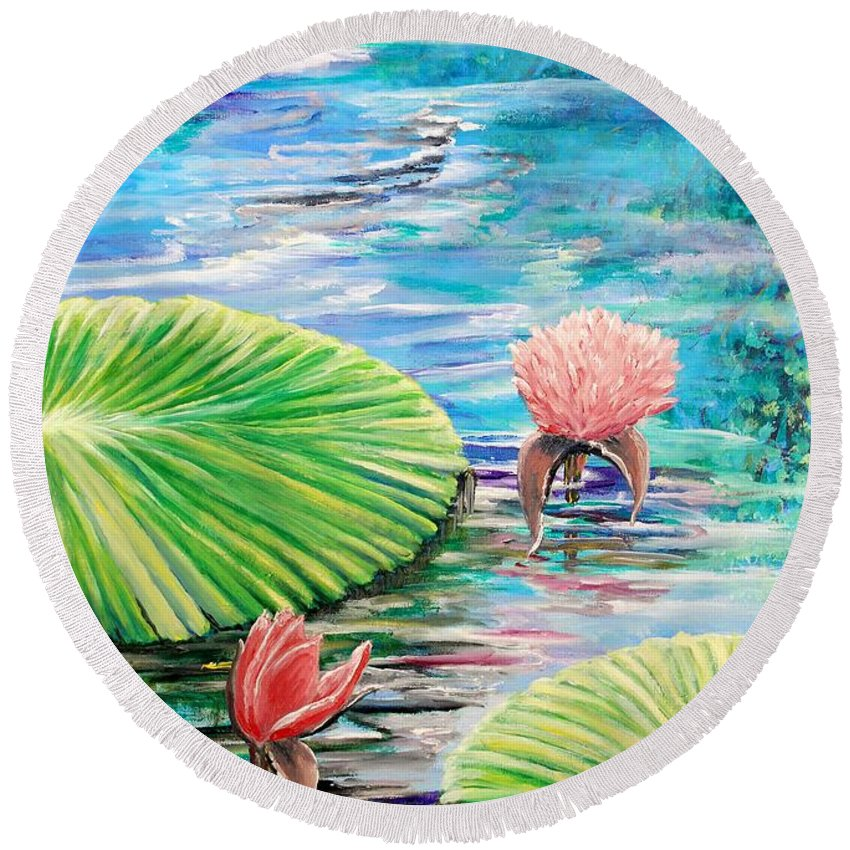 Pond Lilies Flower Colorful Beautiful Acrylic Mixed Media Oil Canvas Blue Green Water Pink Tortoise Round Beach Towel featuring the painting Lilies by Medea Ioseliani
