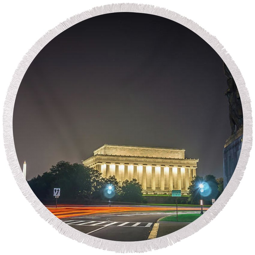 Memorial Round Beach Towel featuring the photograph Lincoln Memorial Monument With Car Trails At Night by Alex Grichenko