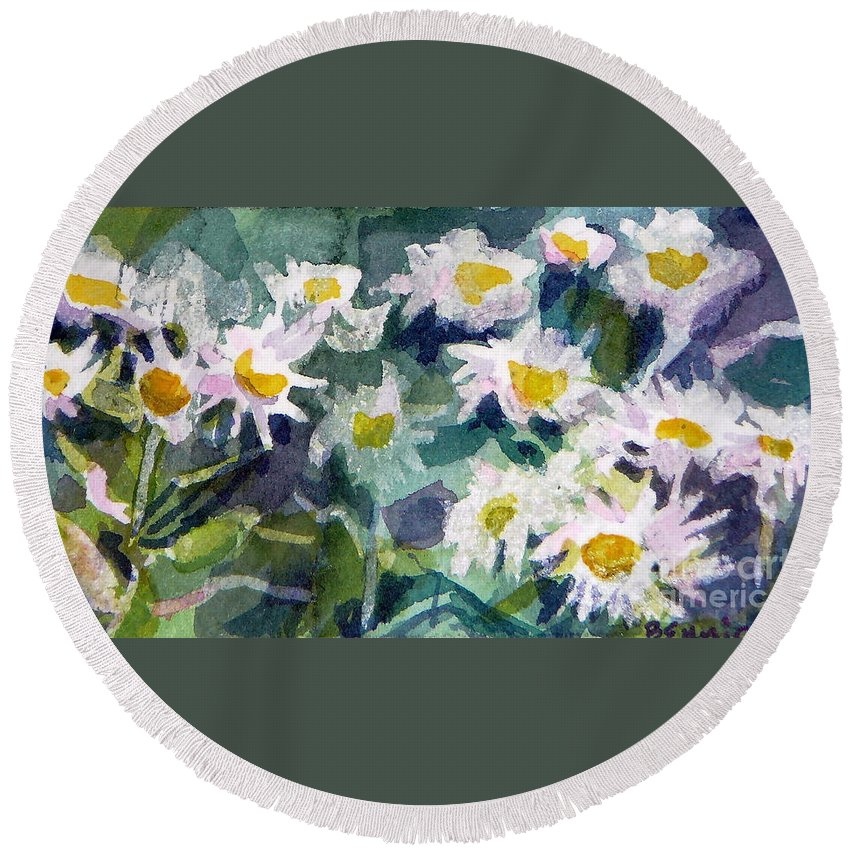 Flowers Round Beach Towel featuring the painting Little Asters by Jan Bennicoff