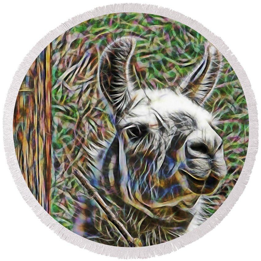 Llama Round Beach Towel featuring the mixed media Llama by Marvin Blaine