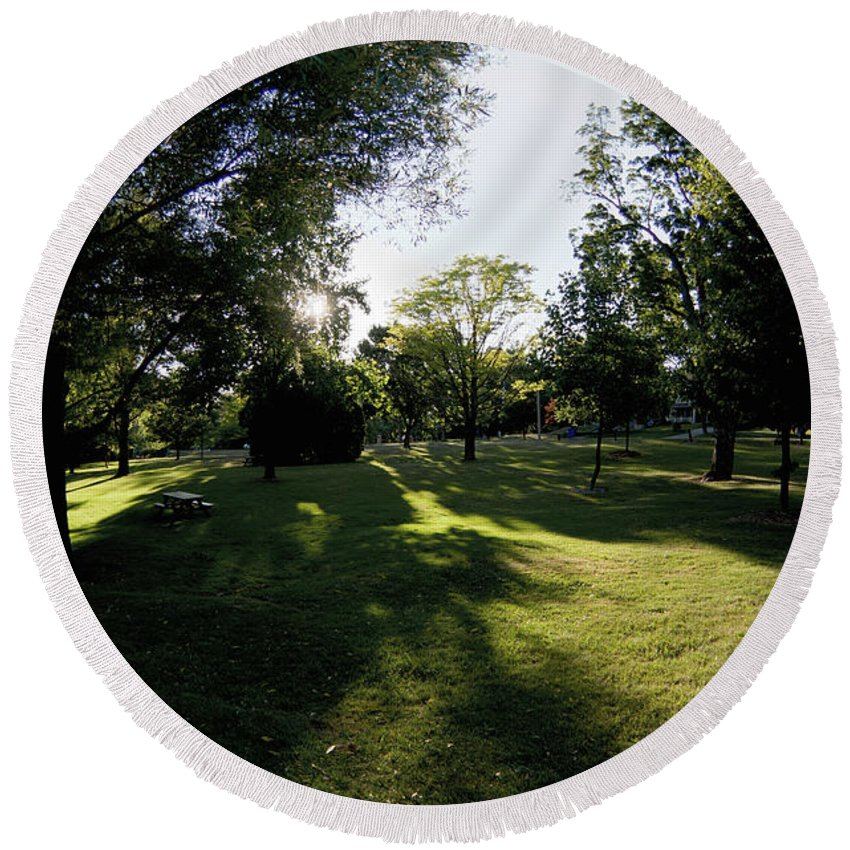 Stratford Park Tree Trees Shadow Shadows Long Round Beach Towel featuring the photograph Long Shadows by The Sangsters