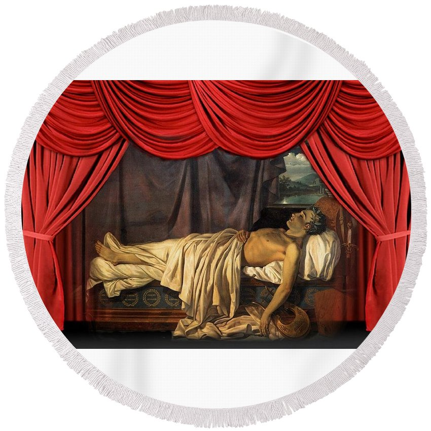 Lord Byron On His Death-bed Round Beach Towel featuring the painting Lord Byron On His Death by Joseph Denis Odevaere