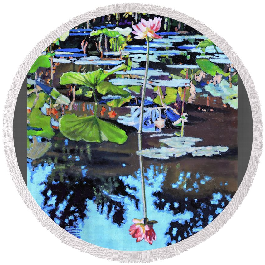 Garden Pond Round Beach Towel featuring the painting Lotus Reflections by John Lautermilch