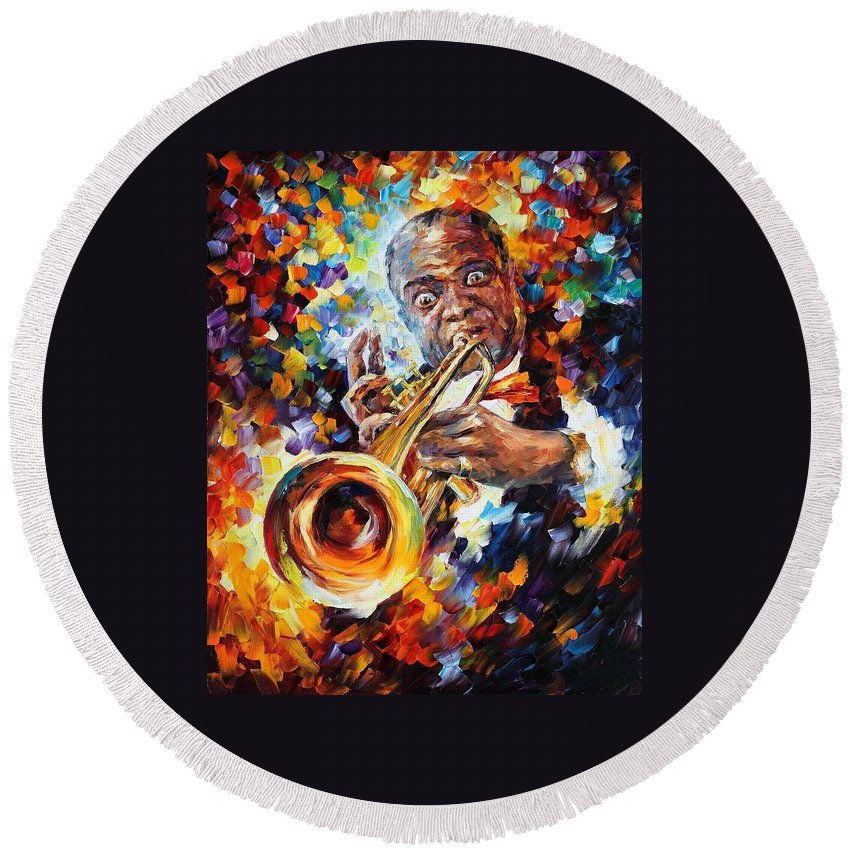 Afremov Round Beach Towel featuring the painting Louis Armstrong . by Leonid Afremov