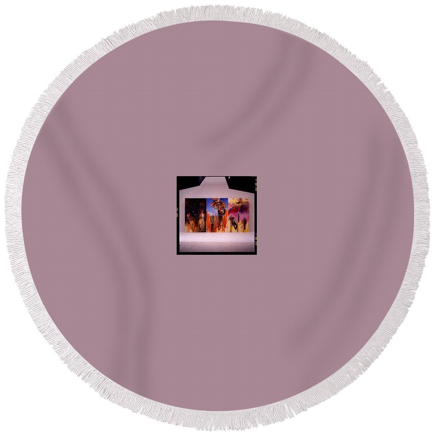 Canvas Round Beach Towel featuring the painting Love Hurts by Charles Stuart