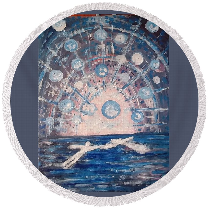 Love Round Beach Towel featuring the painting Love 3 by Victoria Dutu