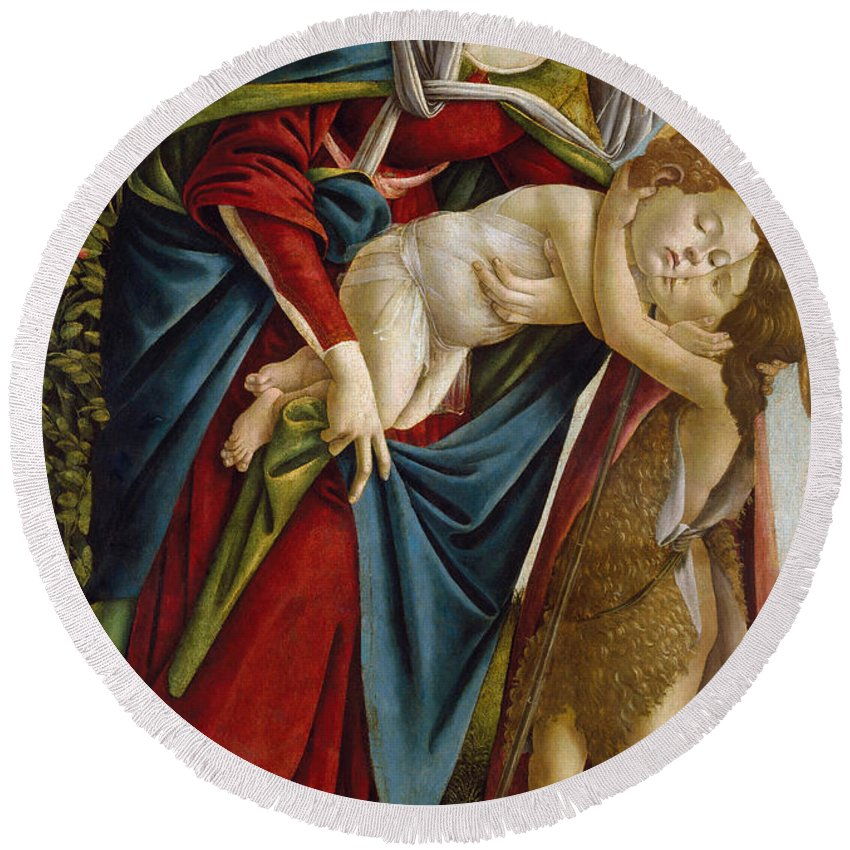 Alessandro Di Mariano Di Vanni Filipepi Round Beach Towel featuring the painting Madonna And Child And The Young St John The Baptist by Sandro Botticelli