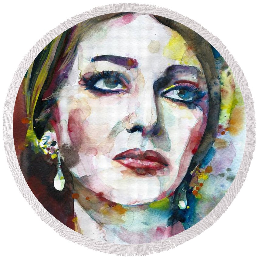 Callas Round Beach Towel featuring the painting Maria Callas - Watercolor Portrait.9 by Fabrizio Cassetta