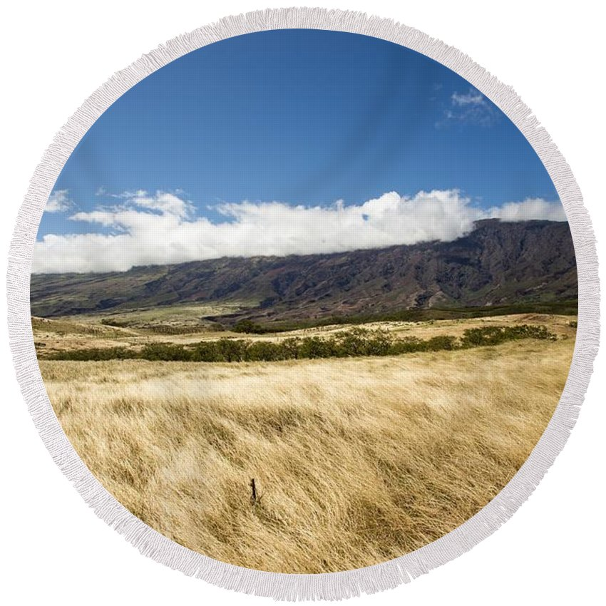Non_city Round Beach Towel featuring the photograph Meadow by FL collection