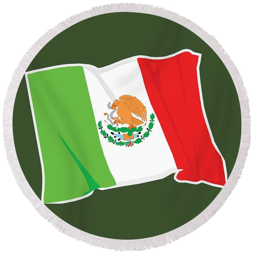 Flag Round Beach Towel featuring the digital art Mexico Flag by Frederick Holiday