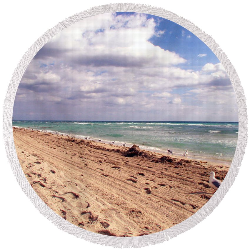 Beaches Round Beach Towel featuring the photograph Miami Beach by Amanda Barcon