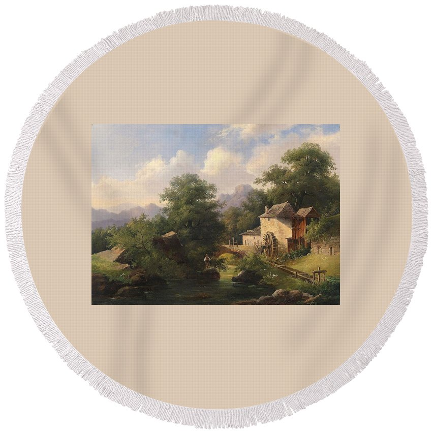 Anton Bayer (1805-1884) Mill With Angler Round Beach Towel featuring the painting Mill With Angler by Anton Bayer