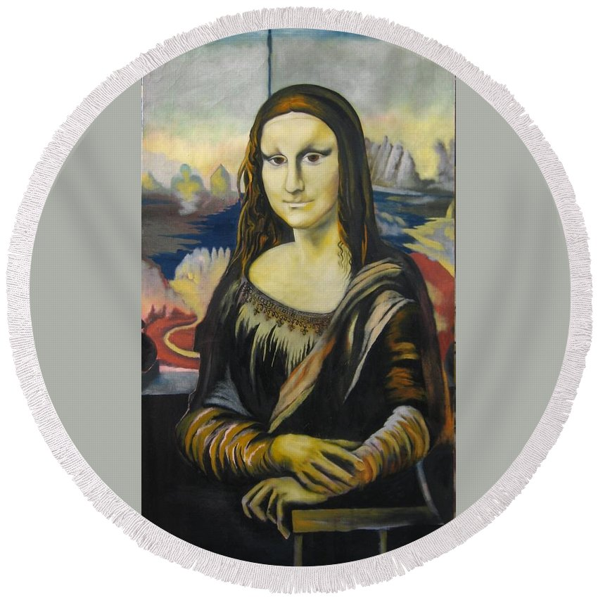 Round Beach Towel featuring the painting Mona Lisa by Ronnie Lee