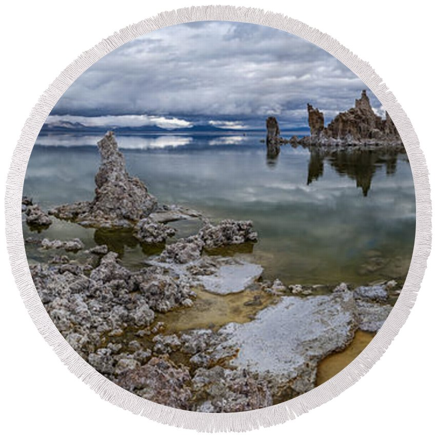 California Round Beach Towel featuring the photograph Mono Lake by Cat Connor