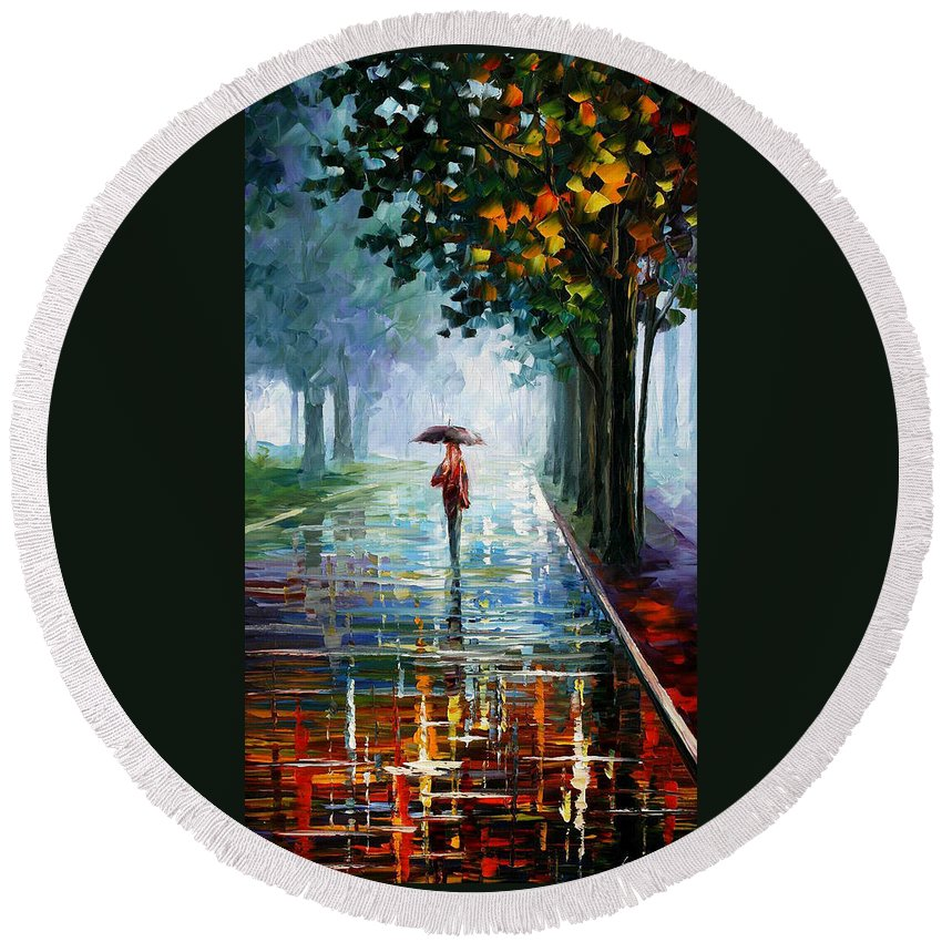 Landscape Round Beach Towel featuring the painting Morning Fog by Leonid Afremov