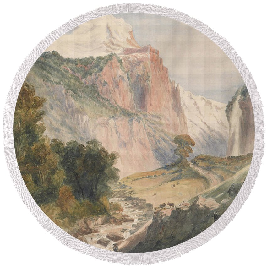 Mountain Landscape Round Beach Towel featuring the painting Mountain Landscape by MotionAge Designs
