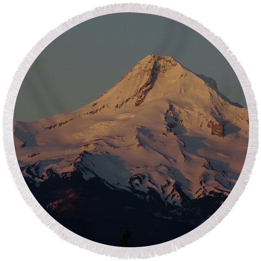 Mt Hood Round Beach Towel featuring the photograph Mt Hood  by Jeff Swan