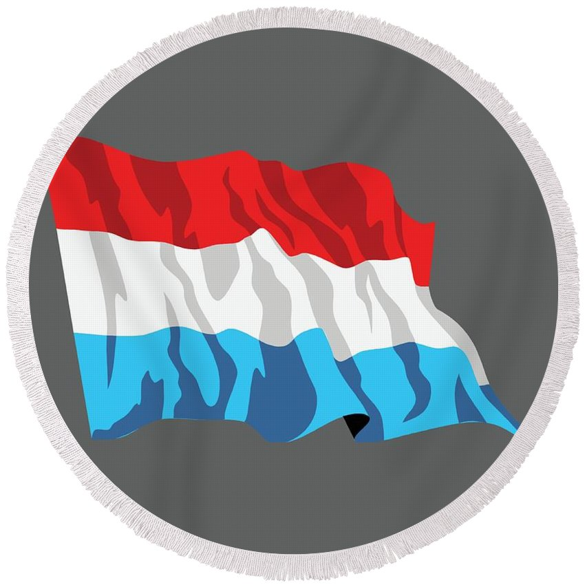Flag Round Beach Towel featuring the digital art Netherlands Flag by Frederick Holiday