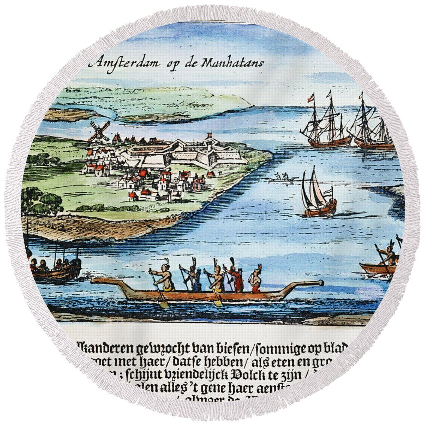 1651 Round Beach Towel featuring the photograph New Amsterdam by Granger