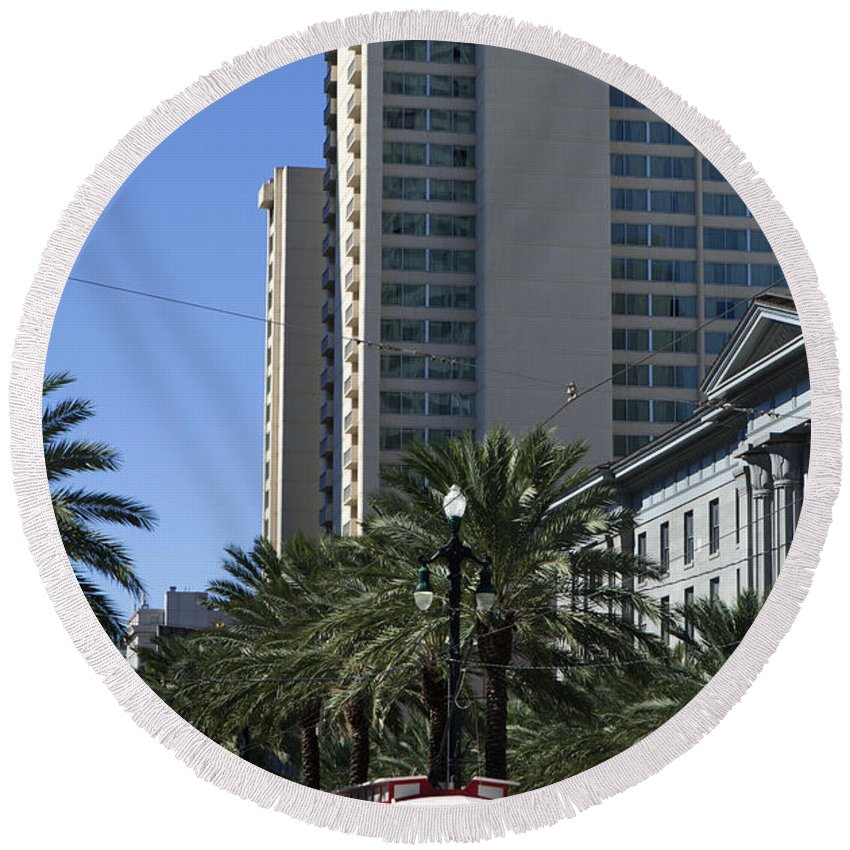 Canal Street Round Beach Towel featuring the photograph New Orleans Cable Car by Anthony Totah