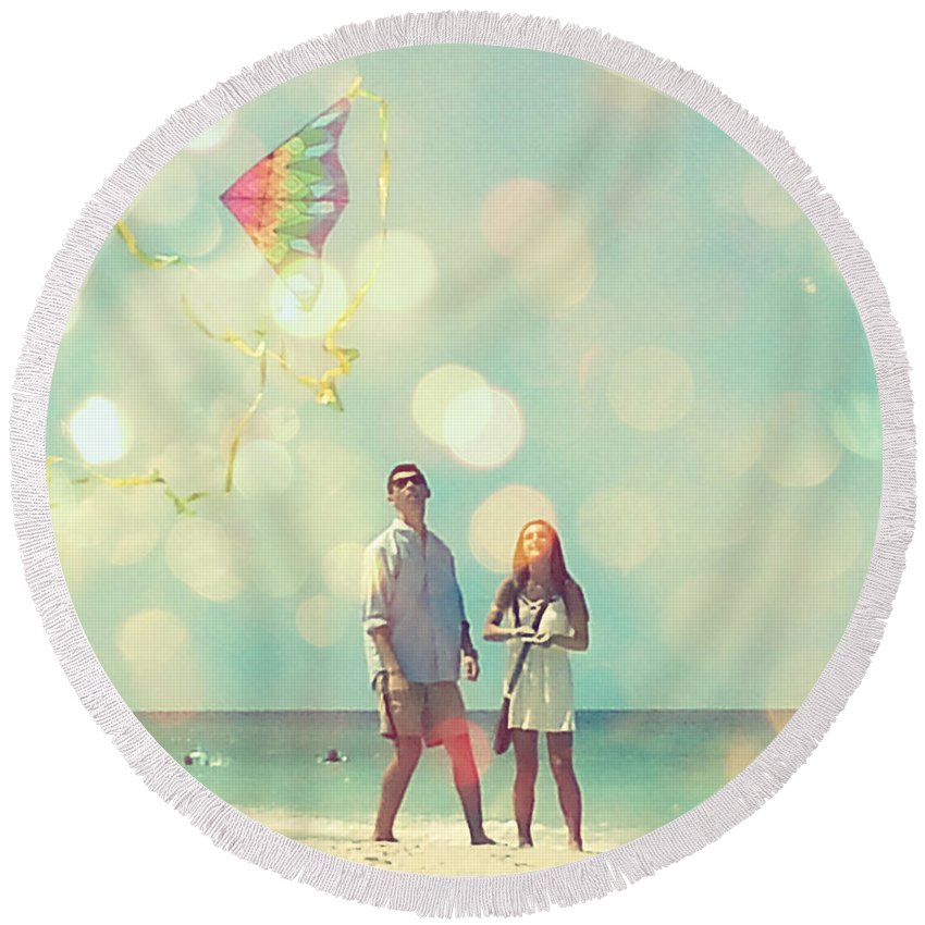 Round Beach Towel featuring the digital art New Upload by Valerie Reeves