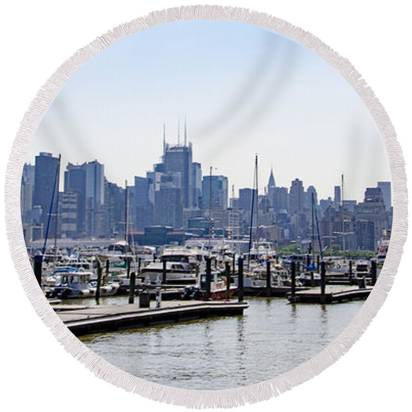 New Round Beach Towel featuring the photograph New York City by Bill Cannon