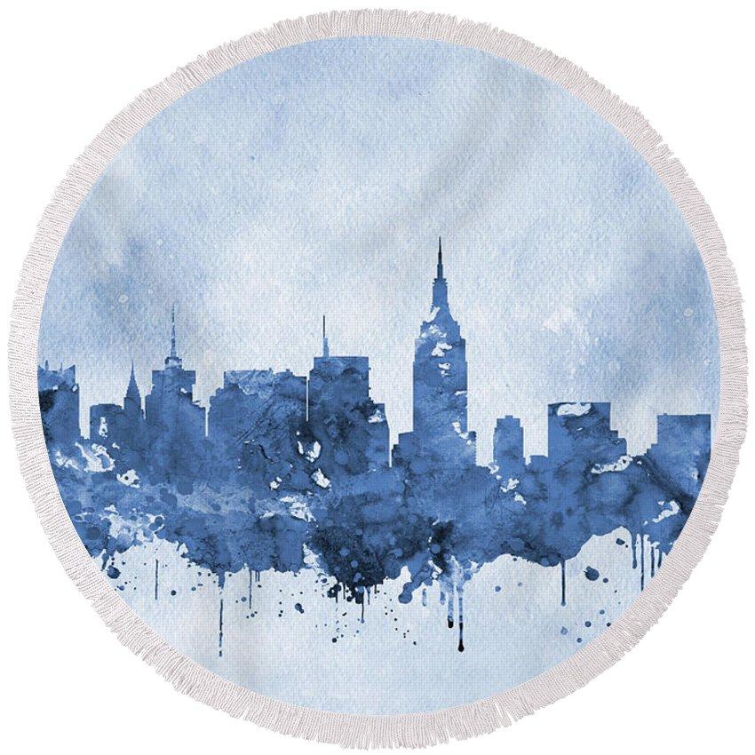 New York Round Beach Towel featuring the digital art New York Skyline-blue by Erzebet S