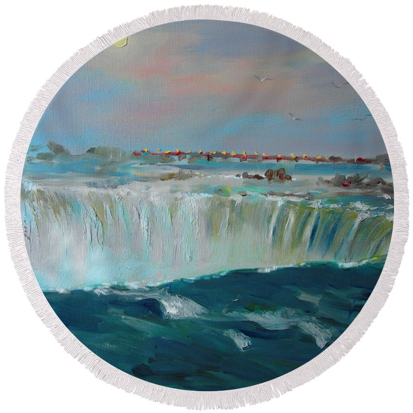 Landscape Round Beach Towel featuring the painting Niagara Falls by Ylli Haruni