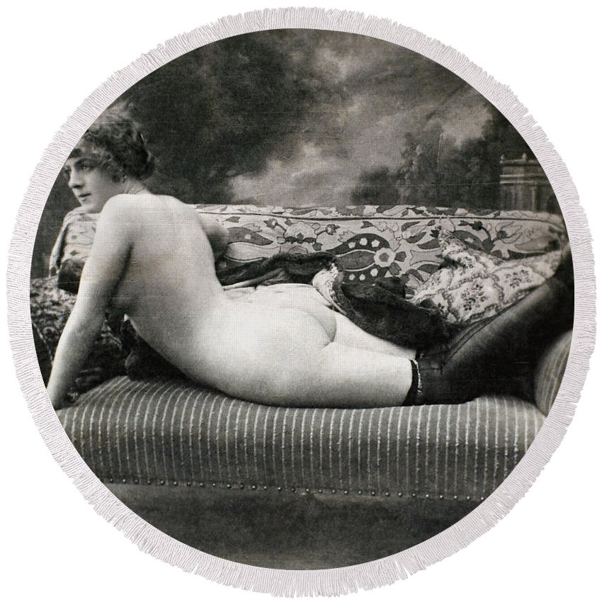 1900 Round Beach Towel featuring the painting Nude Posing, C1900 by Granger