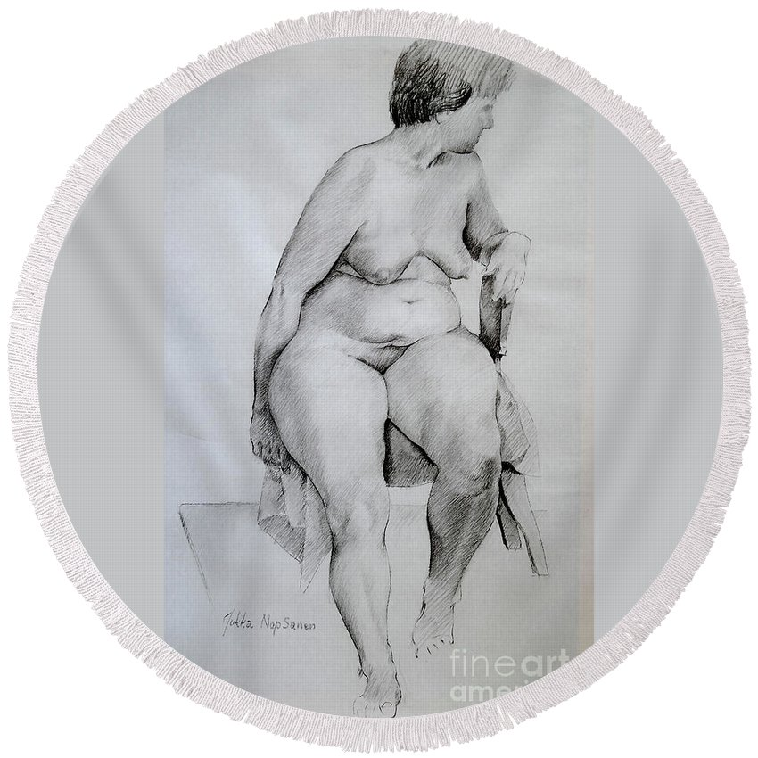 Nude Round Beach Towel featuring the painting Nude Study by Jukka Nopsanen