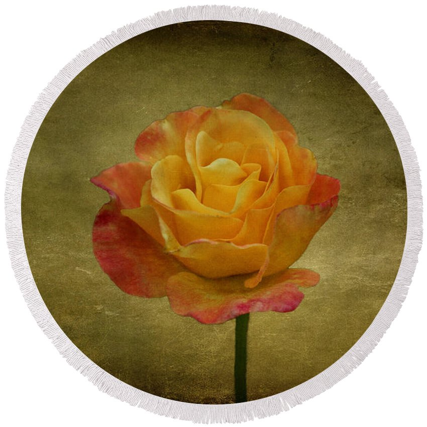 Flower Round Beach Towel featuring the photograph Orange Rose by Sandy Keeton