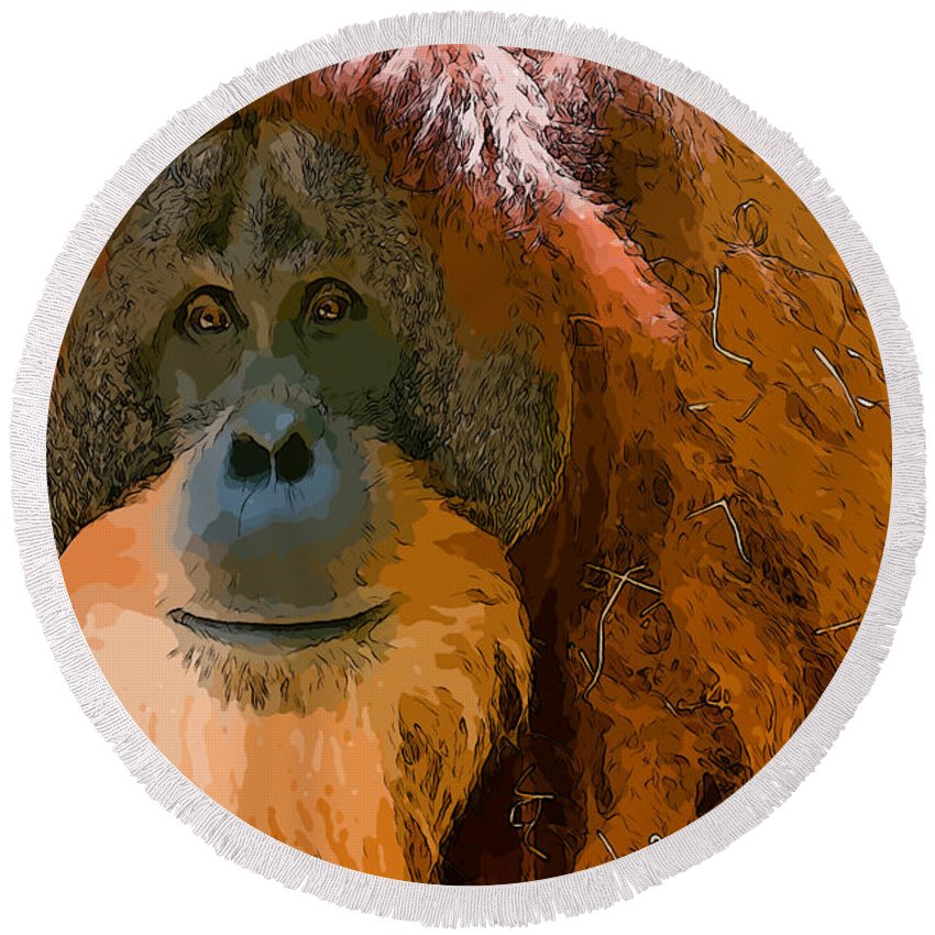 Orangutan Monkey Animal Close Up Round Beach Towel featuring the photograph Orangutan by Andrew Michael