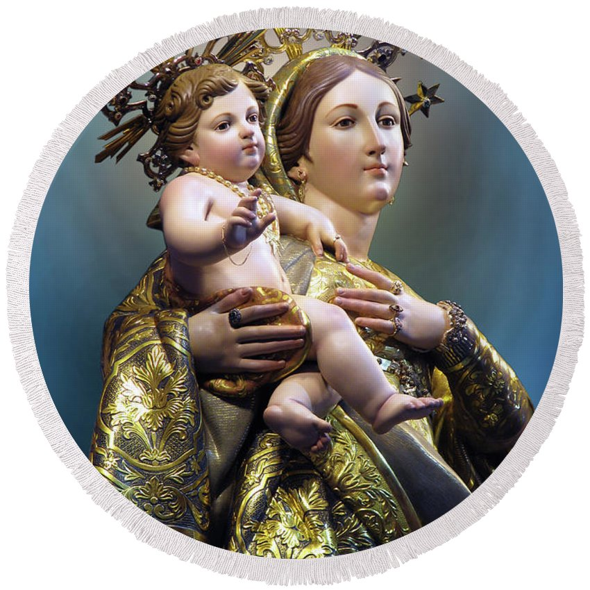 Our Lady Of Graces Round Beach Towel featuring the digital art Our Lady Of Graces by Richard Faenza