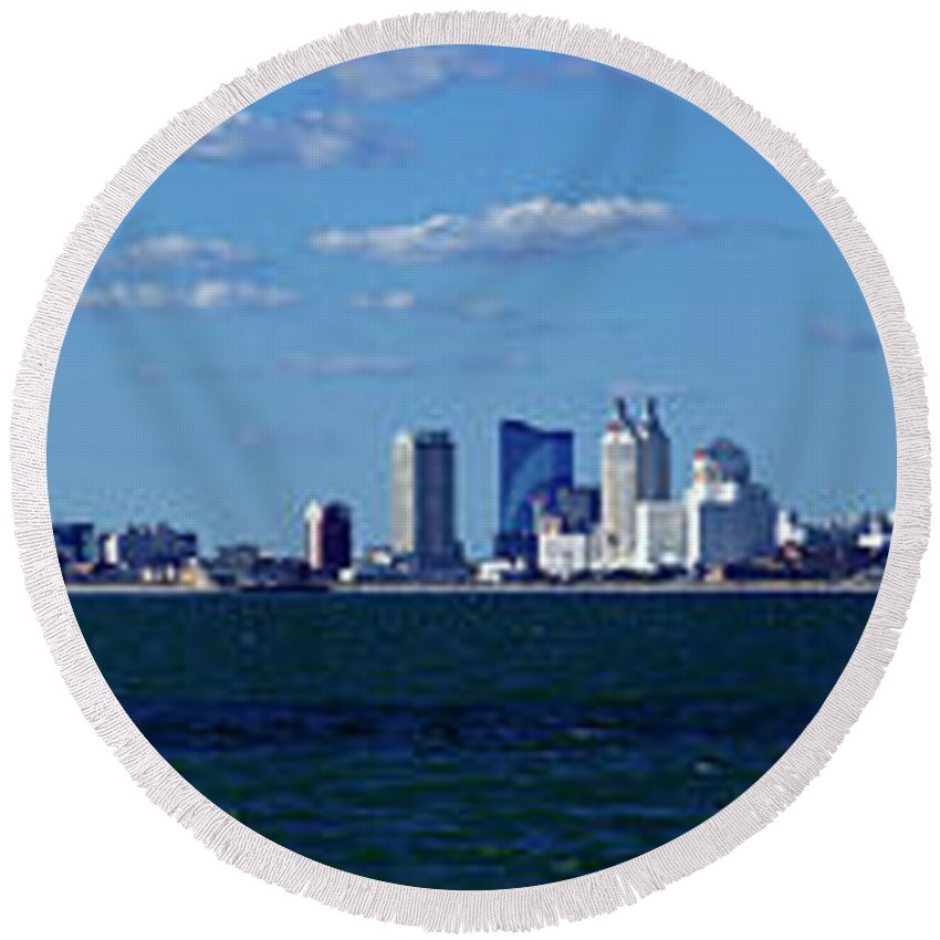 Showboat Round Beach Towel featuring the photograph Panoramic View Of Atlantic City, New Jersey by Anthony Totah