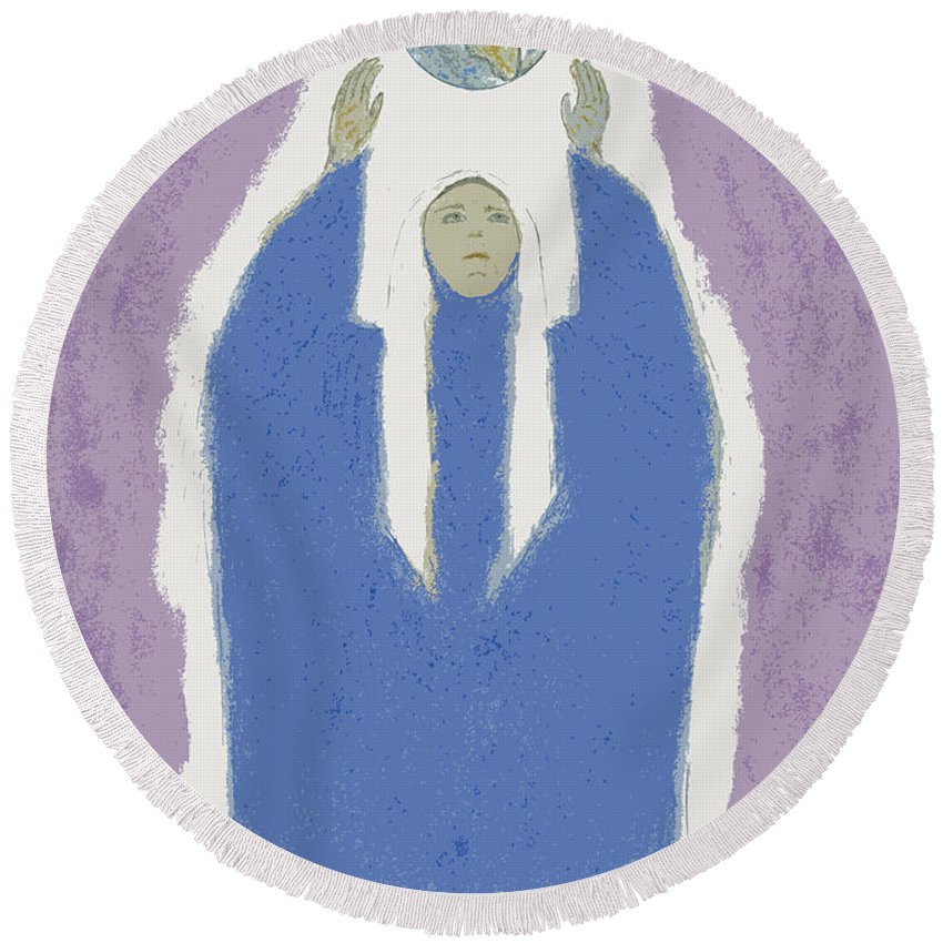 Spiritually Elevating The World Round Beach Towel featuring the painting Peacekeeper by Kate Hopson