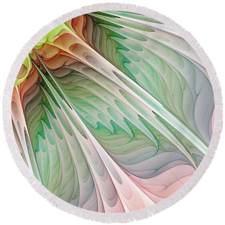 Digital Art Round Beach Towel featuring the digital art Petals by Amanda Moore