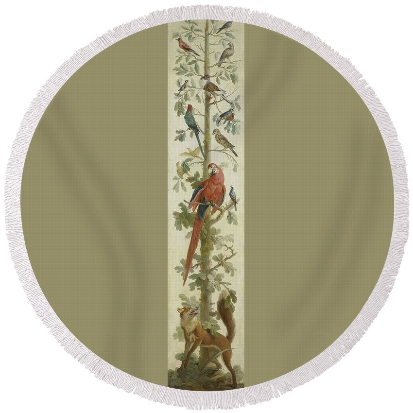 Decorative Depiction With Plants And Animals Round Beach Towel featuring the painting Plants And Animals by MotionAge Designs