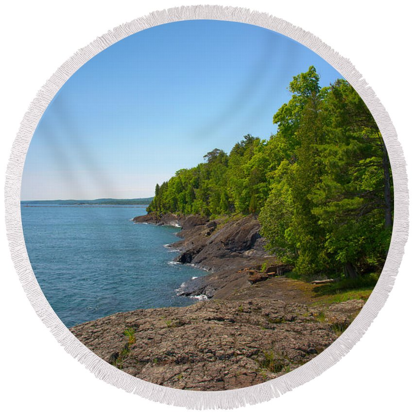 Presque Isle Round Beach Towel featuring the photograph Presque Isle by Michael Tucker