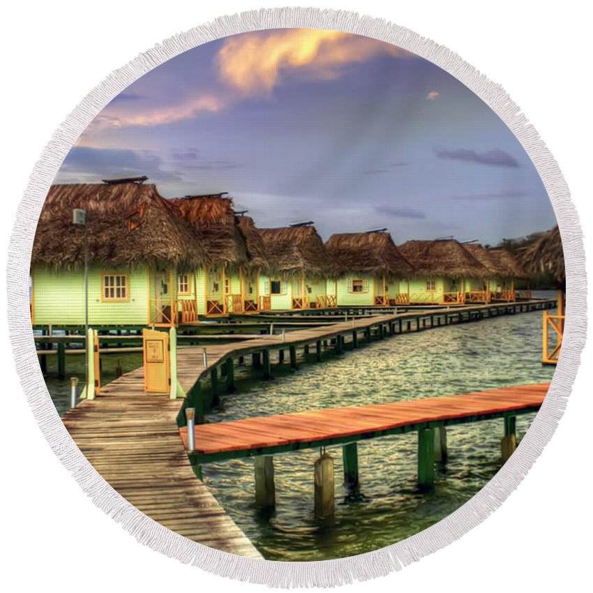 Punta Caracol Round Beach Towel featuring the photograph Punta Caracol by Dolly Sanchez