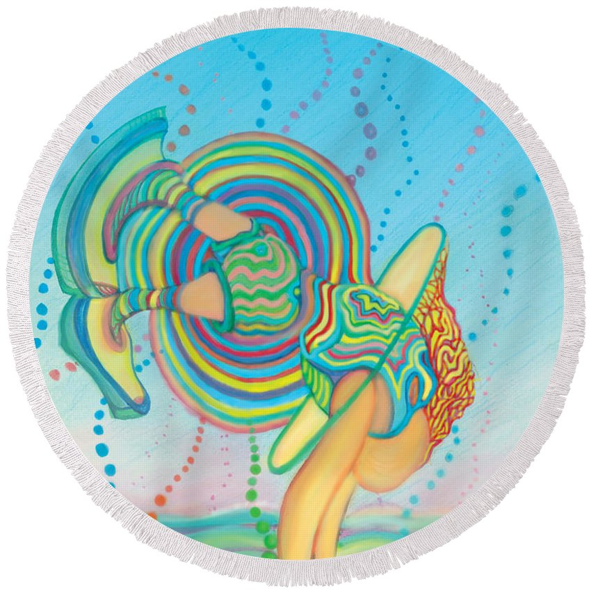 Round Beach Towel featuring the digital art Quantum Leap by Steven Kelly Smith