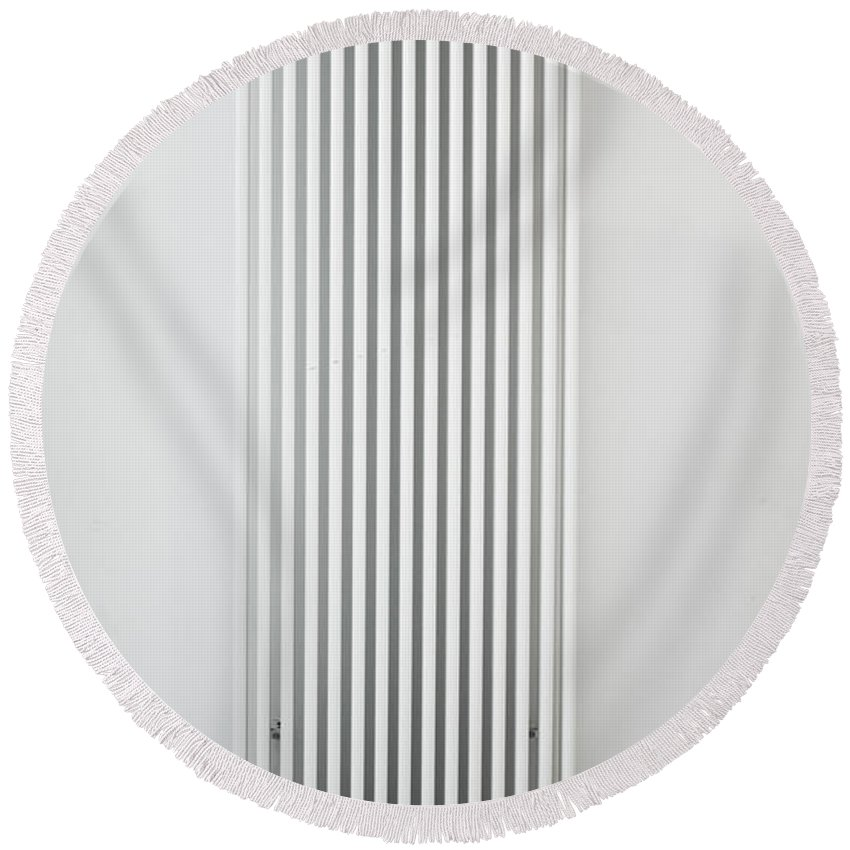 Background Round Beach Towel featuring the photograph Radiator by Tom Gowanlock