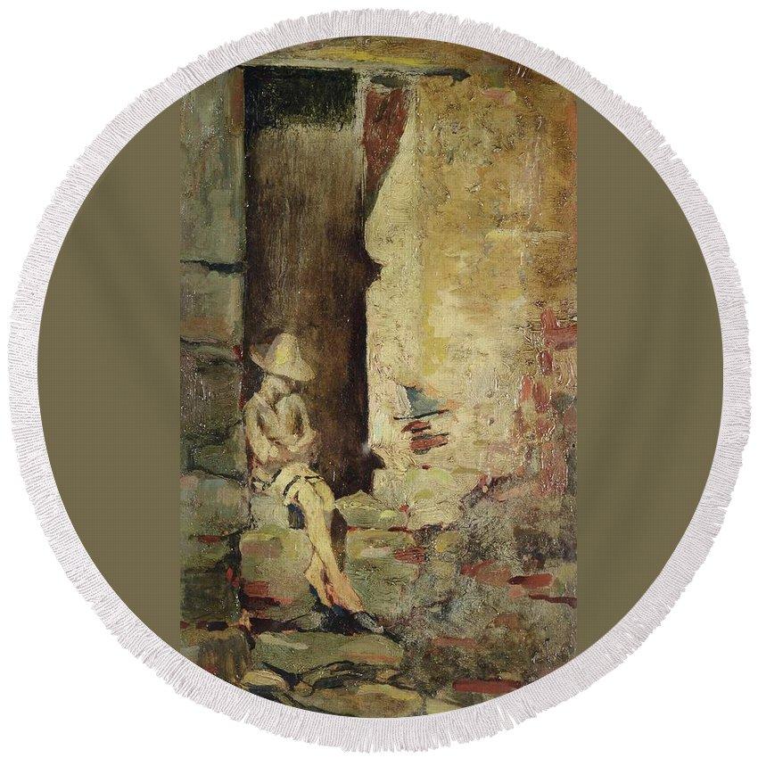 Benedetto Musso (laigueglia 1835-1883) Round Beach Towel featuring the painting Ragazzo Sulluscio Al Sole by MotionAge Designs