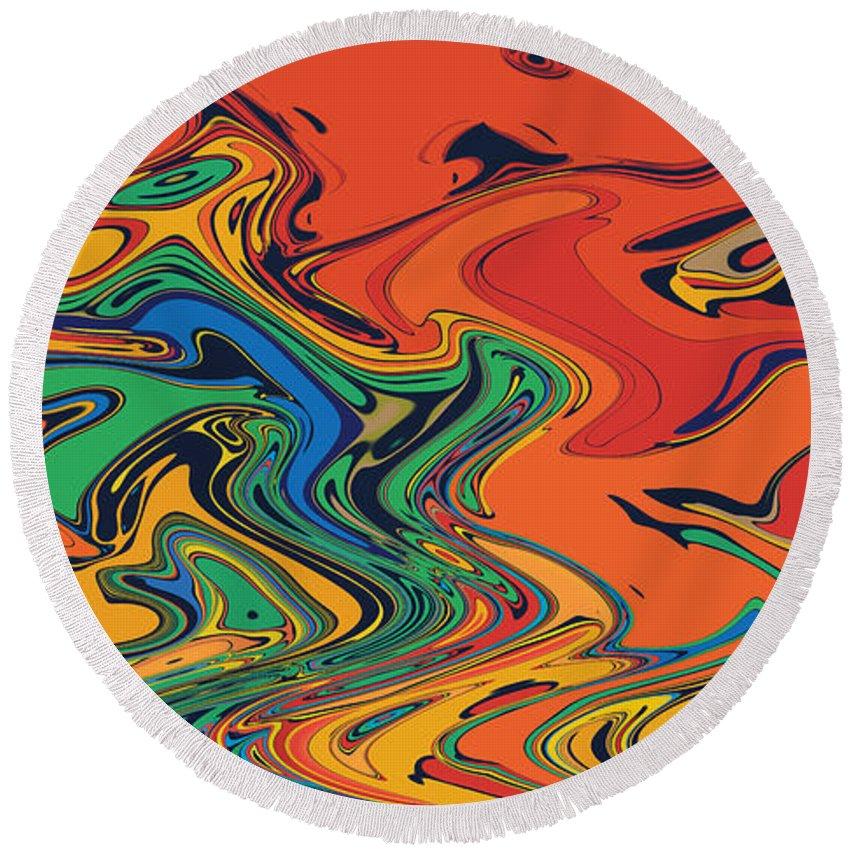Round Beach Towel featuring the digital art Random Stuff by Steven Kelly Smith