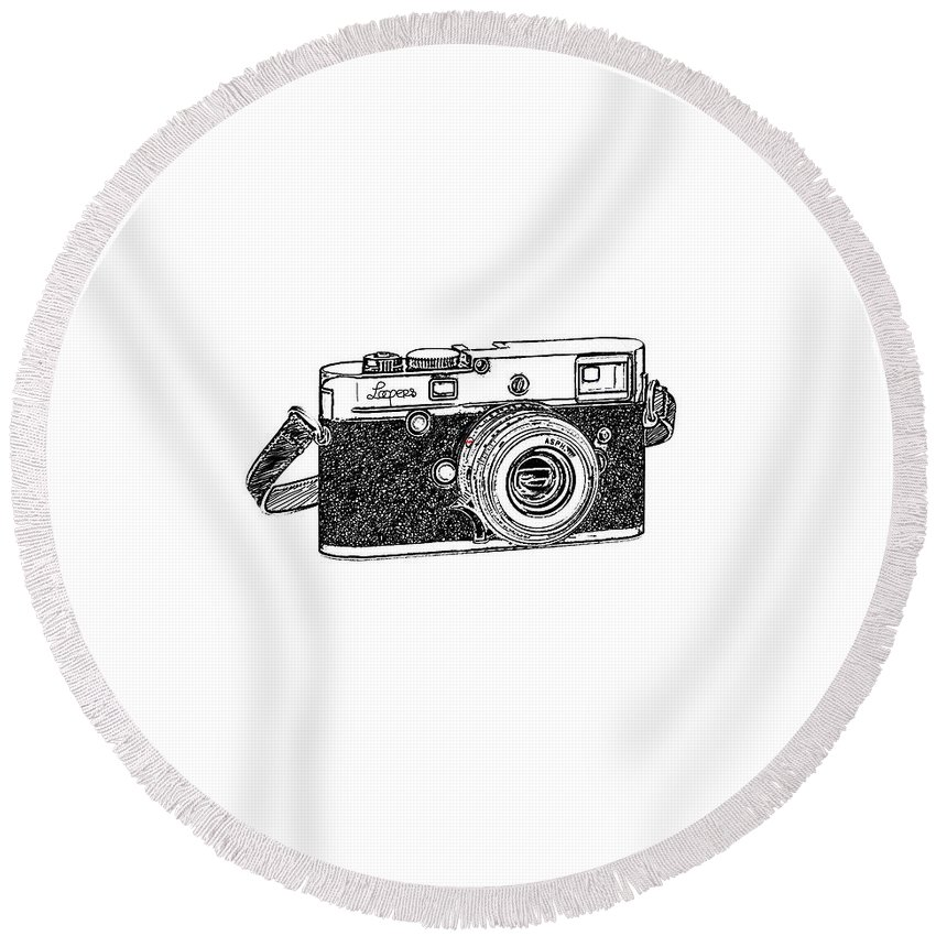 Analog Round Beach Towel featuring the digital art Rangefinder Camera by Setsiri Silapasuwanchai
