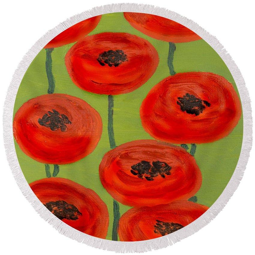 Poppy Round Beach Towel featuring the painting Red Poppies by Irina Afonskaya