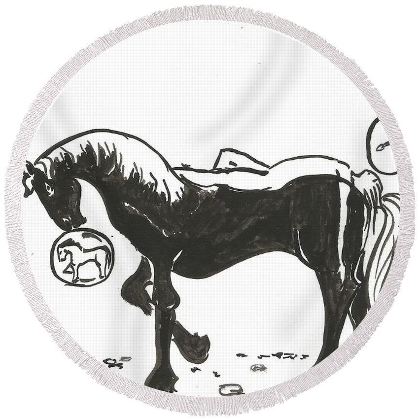 Horse Round Beach Towel featuring the drawing Resting by Gabriel Coelho