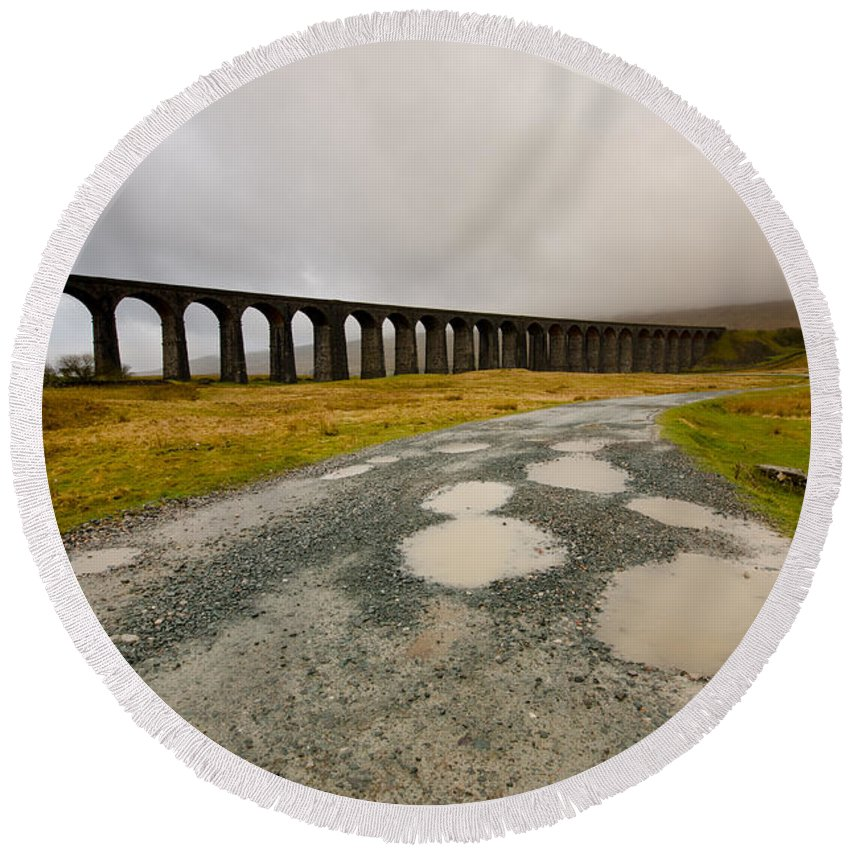 Ribblehead Viaduct Round Beach Towel featuring the photograph Ribblehead Viaduct by Smart Aviation