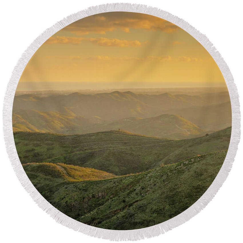 Algarve Round Beach Towel featuring the photograph Rolling Mountain by Angelo DeVal