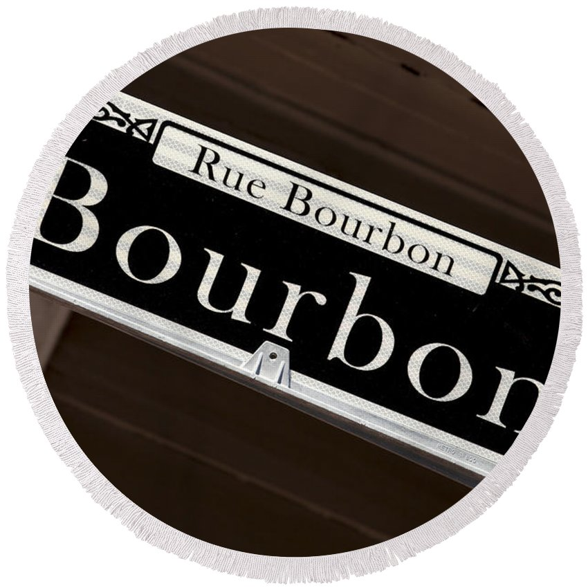 New Orleans Round Beach Towel featuring the photograph Rue Bourbon Street - New Orleans by Anthony Totah